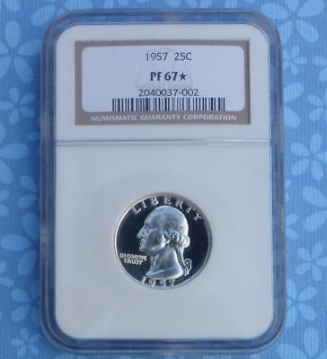 1957 NGC Proof 67 Star Silver Washington Quarter, Gem PF67 Star, Looks Cameo