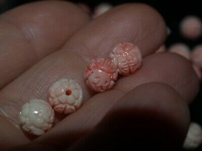 Lot of 4 Carved Chinese Pink Shell Angel Skin Round Bead Shou Design 6mm