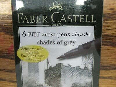 NEW!! Faber-Castell 6 PITT Artist Pens Brush (SHADES OF GREY) 1046
