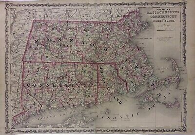 Massachusetts Connecticut Rhode Island map , Hand Colored Johnson 1862 Original