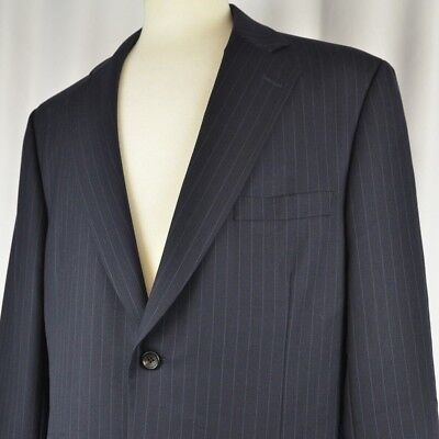 Paul Stuart Men's Suit Size 43 Tall Two Button Pin Stripe Flat Front Navy 1 Vent