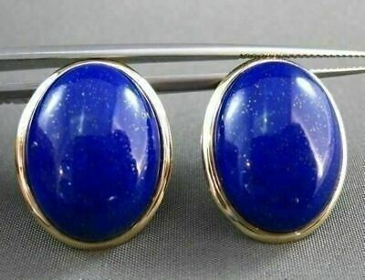 Antique Large Aaa Oval Lapis 14Kt Yellow Gold Earrings W/ Clips Beautiful #22108
