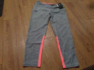 bnwt girls under armour leggings-size ylg-fitted--gray& pink
