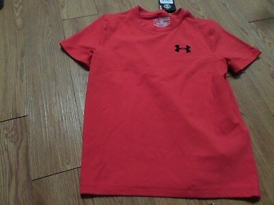 bnwt boys ss under armour shirt-yxs loose fit -cotton  mix-red