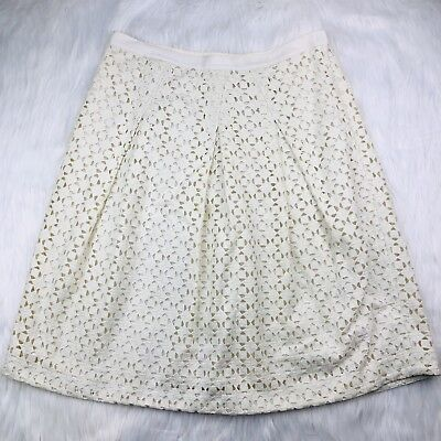 6045cd406 Tory Burch Size 10 Skirt Haylie Crochet Lace Eyelet Pleated Ivory Knee  Length
