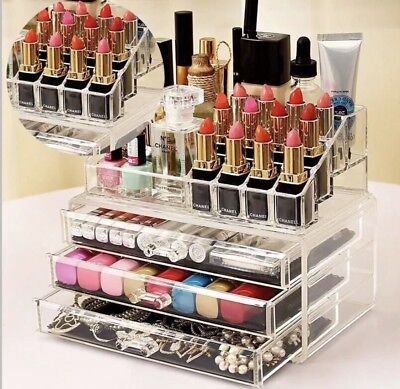 Cosmetic Organizer Jewellery Case Box Storage Clear Acrylic Makeup Drawer Holder