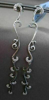 Estate Long .26Ct Diamond 18Kt White Gold 3D Filigree Vine Hanging Earrings
