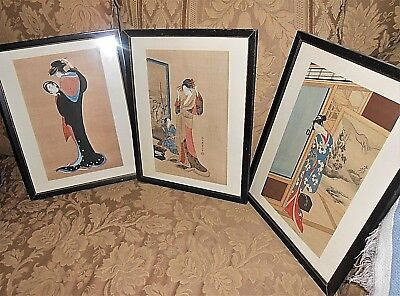 Japanese Woodblock Prints Trio of Chobansai-Eishi Courtesans