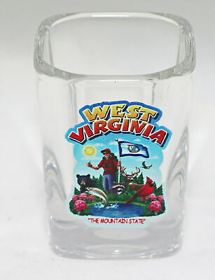 West Virginia State Montage Square Shot Glass Shotglass