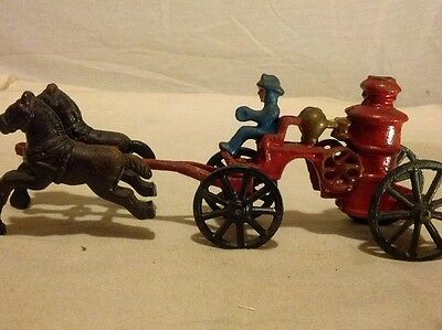 Vintage/Antique Cast Iron Horse Drawn Fire Truck Pumper Wagon with Driver