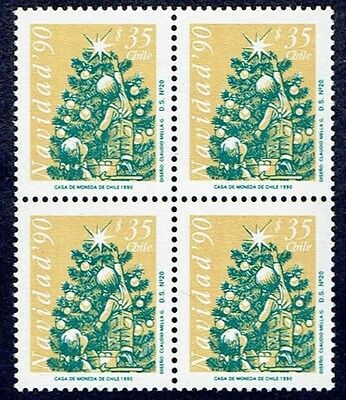 Chile 1990 Stamp # 1486 Mnh Block Of Four Christmas 90'