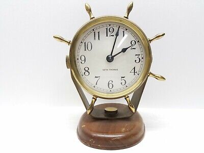 Vintage Brass Seth Thomas SEASPRITE Nautical Marine Boat Windup Clock E954 000