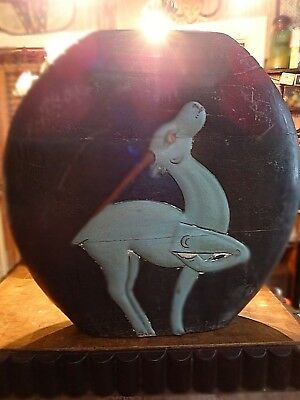 """Vintage,Antique,Asian,Wood Container,Mystical Deer,Large 23"""" High"""