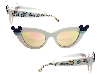 6f5b1aa59bce White Cat Eye Disney Sunglasses with Baby Mickey Mouse Ears, Hand Painted  Design