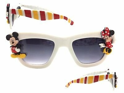ee4a32dde4b1 White Disney Sunglasses with Mickey Mouse, Minnie Mouse, Hand Painted  Stripes