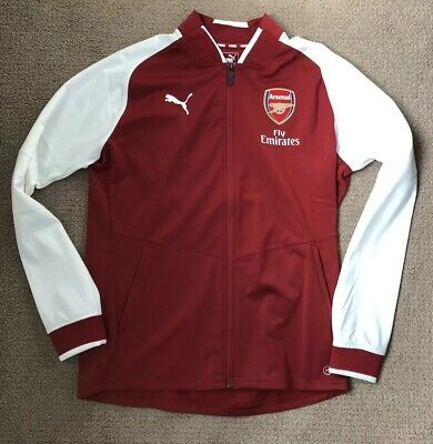 11d7b19a1eb8 NWT Arsenal FC Puma 2017 18 Stadium Full Zip Jacket Red White Men s Size L