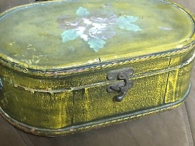 Antique Vintage Old Handmade Wood Hand Painted Rare Jewelry Trinket Box