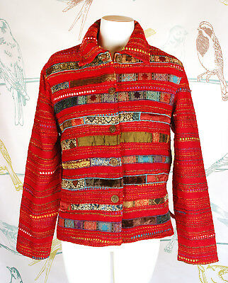 Anii Womens Multi-Color Ethnic Print Long-Sleeved Button Front Red Jacket Size S