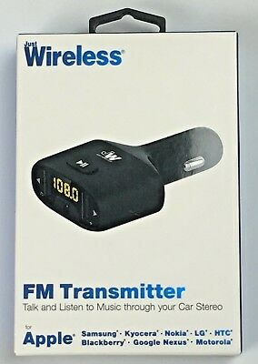 Just Wireless FM Transmitter & Dual Port Car Charger - Black
