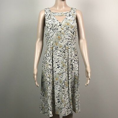 Anthropologie Women's  6 Moulinette Soeurs Beige Floral Cut Outs High Low Dress