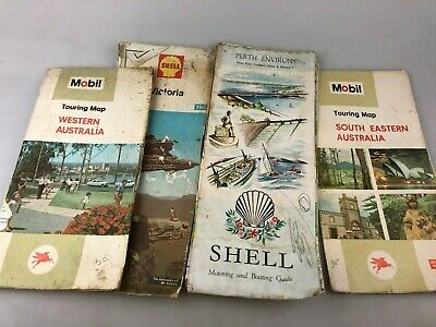Road Maps - Vintage In Miles & Klms - Mobil - Shell 4 Maps In Varying Condition