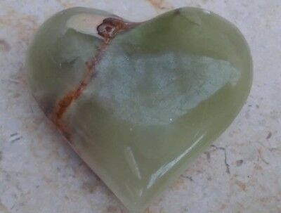 Antique Vintage Natural Genuine Green Jade Stone Heart Shaped
