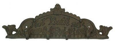 Cast Iron Hot Bath 25 Cents Sign Hook Hanger  Rustic Brown  Western  Decor