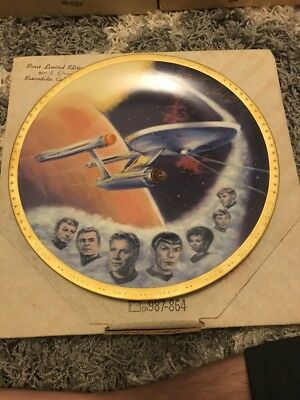 "Star Trek Collector Plate Space ""The Final Frontier"" U.s.s. Enterprise"