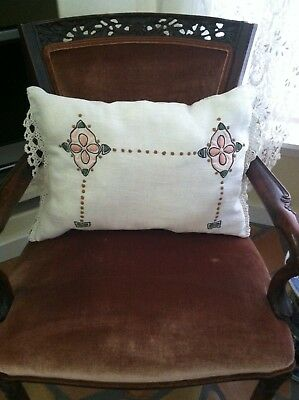 Beautiful Original Antique Arts & Crafts Embroidered Linen Pillow