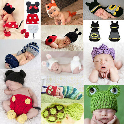 Newborn Baby Boy Girl  Knit Crochet Costume Photo Photography Prop Hats Outfits