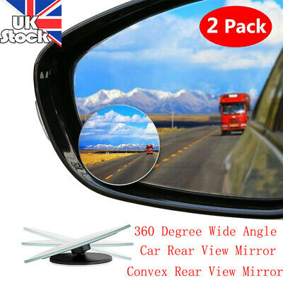 NEW 2X Car Blind Spot Mirror Adjustable Wide Angle 360 Rotation Convex Rear View