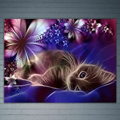 Lovely Cat DIY 5D Full Drill Diamond Rhinestone Embroidery Painting Cross Stitch