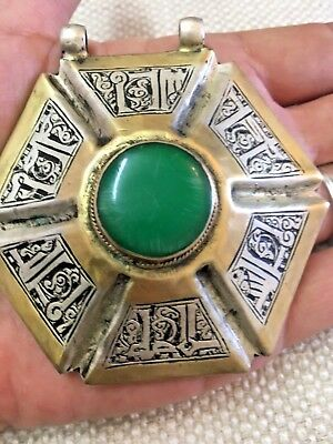 Antique Medieval Islamic Ancient Gold & Silver Natural Turquoise Stone Pendant