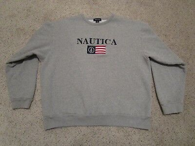 Mens Nautica Logo & Flag Pullover Sweatshirt Crew Neck Gray XL Long Sleeve