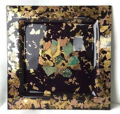 """Fused Glass Art Plate 19"""" x 19"""" Burgundy Gold Copper Leafing Center Collage Used"""