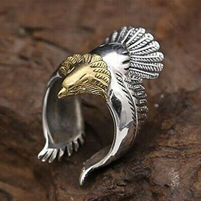 Unique Flying Eagle Biker Ring Cool Punk Mens Animal Vintage Open Ring Jewelry