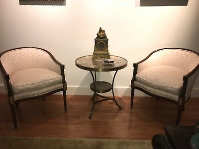 Pair Of Reupholstered Barrel Back Armchairs With Wood Frame And Inlay