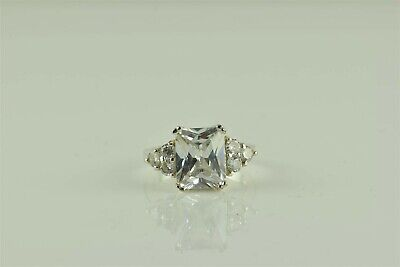 Sterling Silver 4tcw Cubic Zirconia Emerald Solitaire w/ Accents Ring 925 Sz: 7