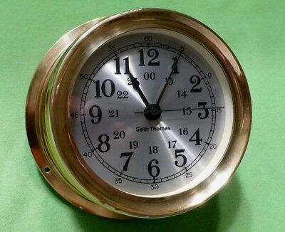 MARITIME Seth Thomas wall clock SEASPRITE II Model 1023 FULL BRASS / THICK GLASS