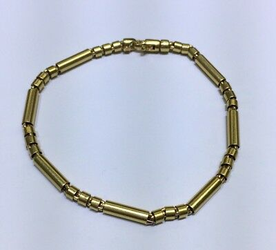 """14k Solid Yellow Gold Unique round smooth Chain Bracelet. 7"""". Retail $690 6.46g"""