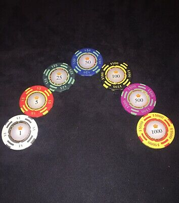 Poker Chips Set Sample Crown Casino Clay 13.5g 1s 5s 25s 50s 100s 500s 1000 Chip