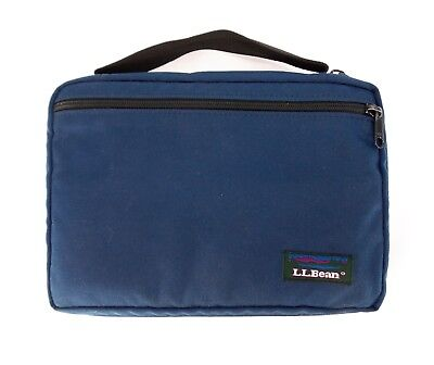 L.L. Bean Vintage ZIP BOOK / BIBLE COVER Bag Side Handle Blue 10x7 USA Made EXC