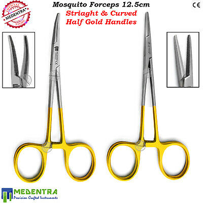 Hemostatic Forceps Mosquito Dental Ortho Lab Pinzas Suturing Half Golden Handle