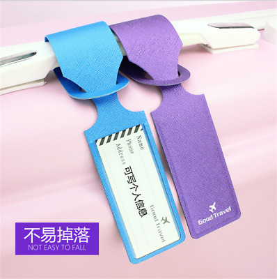 Pu Leather Luggage Tag Suitcase Bag Address ID Label for Travel Holiday Portable