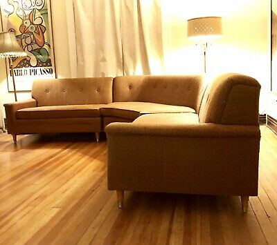 Mid Century Modern 3 Piece Tufted Sectional Couch Sofa Curved Banquette 9 X9