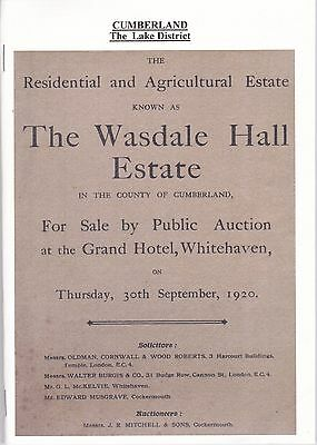 Sale of the 'Wasdale Hall Estate' Cumberland in 1920 (Copy)