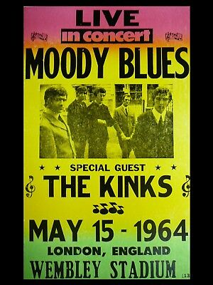 """Moody Blues / Kinks 1964 Wembley 16"""" x 12"""" Reproduction Concert Poster Photo"""