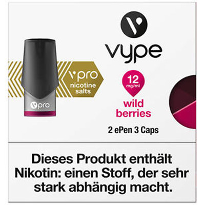 Vype ePen3 2 xCaps vPro WILD Berries 12mg Nikotin VYPE NEU OVP Refill Liquid Cap