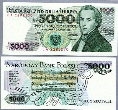 Poland 1988 5000 Zlotysh Banknote UNC Condition - very scarce - #BN118 NN32a 04