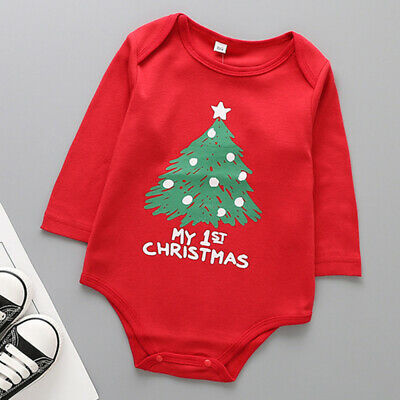 Kids Baby Boy Girl Long Sleeve Romper Jumpsuit Outfits Xmas Festival Dress